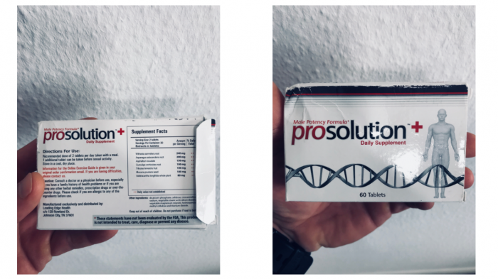 image of prosolution plus pill with ingredients list