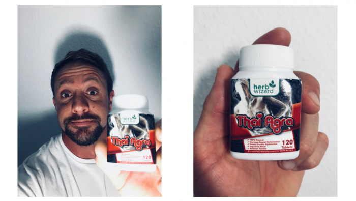 Thai Agra Pills featured product image of me holding the product