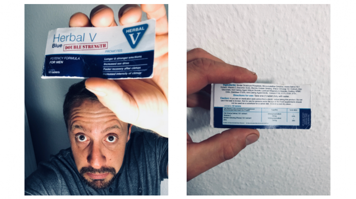 Herbal v blue double strength pills packet im holding