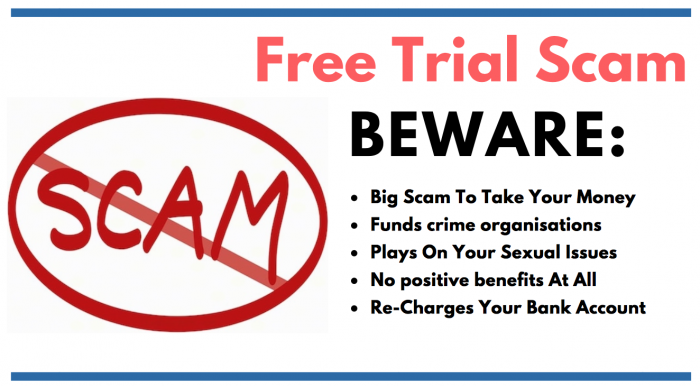 image saying beware free trial scam