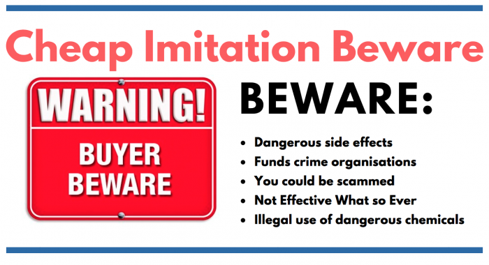 image saying warning to consumers of cheap male enhancement products