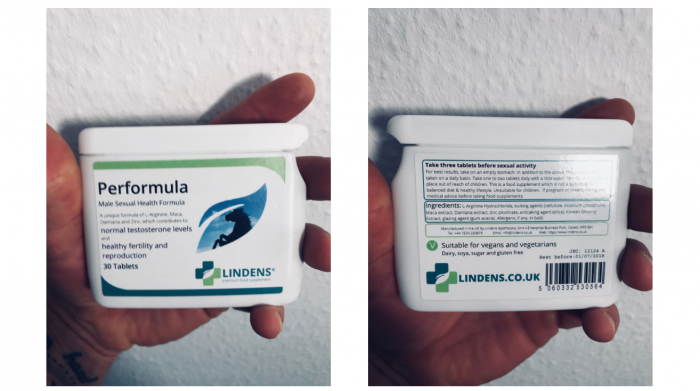 image of pot of performula pills with the ingredients label showing