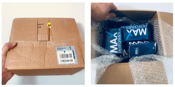 image of the box my 6 month supply of max performer arrived in
