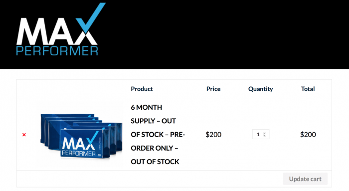 image of the order page on the max performer pills website
