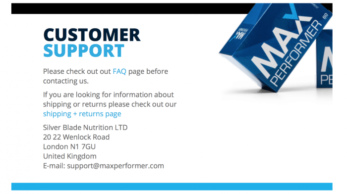 image of the contact details of silverblade nutrition